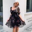 Floral Print Organza Pleated Casual Dress With Half Sleeves