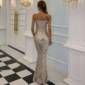 Sleeveless Mermaid Sequin Sheer Illusion Bodice Long Prom Dresses