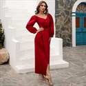 Off Shoulder Split Front Satin Prom Dress With Long Sleeves
