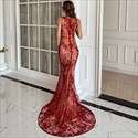 Red High Neck Sleeveless Lace Overlay Mermaid Prom Dress