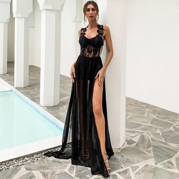 Black Illusion Sheer Halter Prom Dress With Slits On Both Sides