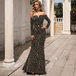 Mermaid Sequin Off The Shoulder Prom Dress With Long Sleeve