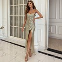 Strapless Sequin Gold Split Front Prom Dress With Asymmetric Hem