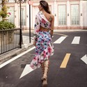 Floral Print Two Piece Asymmetrical Dress With One Long Sleeve