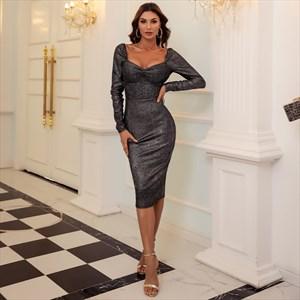 Grey Sheath Pleated Midi Dress With Long Sleeves