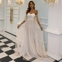 Off The Shoulder Tulle Long Bridesmaid Dress With Flutter Sleeve