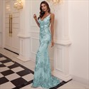 V-Neck Mermaid Sequin Geometry Embellished Backless Prom Dress