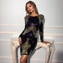 Sequin Embellished Backless Party Dress With Long Sleeves