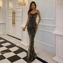 Mermaid Sequin Spaghetti Strap Long Prom Dresses