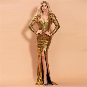 Gold Sequin V-Neck Pleated Long Sleeves Split Front Prom Dresses