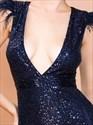 Royal Blue Sequin Deep V-Neck Long Prom Dresses With Split Front