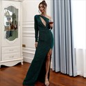 Emerald Green Front Keyhole Prom Dresses With One Long Sleeve