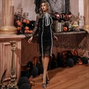 Black Illusion High Neck Pleated Tulle Short Dress With Long Sleeves
