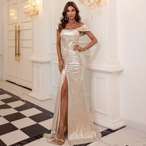 Champagne Mermaid Split Front Off The Shoulder Prom Dress