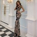 Black Embroidery Mermaid Floor Length Prom Dress