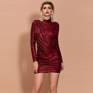 Burgundy Sequin High Neck Short Prom Dress With Long Sleeves