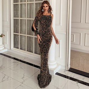 Mermaid Sequin Floor Length Prom Dress With One Long Sleeve