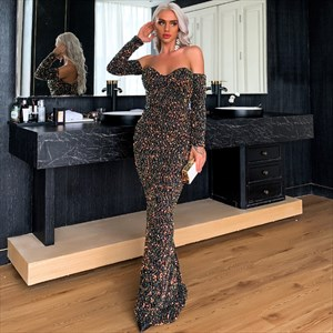 Black Mermaid Off Shoulder Prom Dress With Long Sleeves
