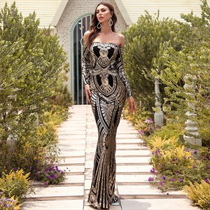 Long Sleeve Off The Shoulder Sequin Embroidery Mermaid Prom Dress