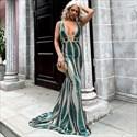 Green Deep V-Neck Sequin Sleeveless Mermaid Prom Dress