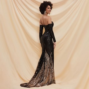 Black Sequin Off The Shoulder Long Sleeve Prom Dress With Gold Accents