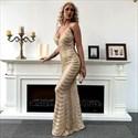 Gold Mermaid Sequin V-Neck Spaghetti Strap Prom Dress