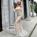 Long Sleeve Off The Shoulder Lace Embellished Mermaid Prom Dress
