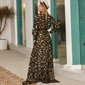 Long Sleeve V-Neck Chiffon Front Split Maxi Dress With Sash