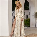 Elegant Chiffon Floral Printed V-Neck Long Sleeve Maxi Dress