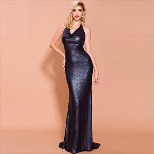 Royal Blue Sequin Halter V-Neck Prom Dress With Open Back