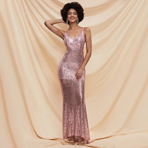 Pink Sequin V-Neck Spaghetti Strap Backless Prom Dress With Bowknot