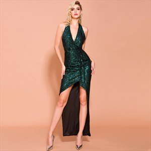 Emerald Green Sequin Low V-Neck Halter Top High Low Prom Dress