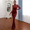 Mermaid Sequin High Neck Illusion Prom Dresses With Sheer Sleeves