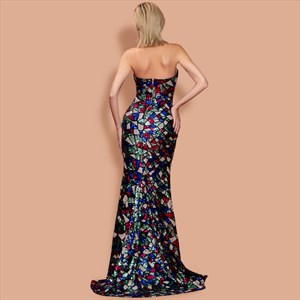 Mermaid Geometry Pattern Strapless Split Front Sequins Evening Dress