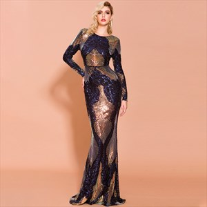 Mermaid Sequin Embellished Long Sleeves Open Back Prom Dress