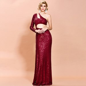 Sequin One Long Sleeve Front Split Prom Dress With Side Cutouts