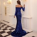 Mermaid Off The Shoulder Sequin Prom Dress With Long Sleeves