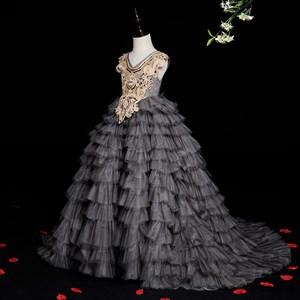 Grey Layered Tulle Flower Girl Dresses With Gold Accents