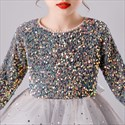 Sequin Top Tulle Skirt Flower Girl Dress With Long Sleeves