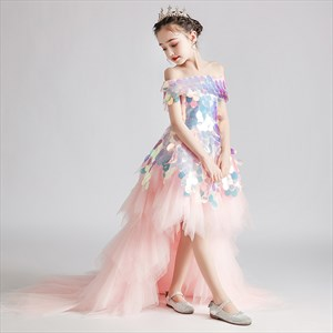 Tiered Ruffle Off The Shoulder Sequin Top Tulle Flower Girl Dress