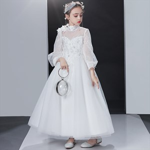 High Neck Lace Applique Wedding Flower Girl Dress With Sheer Sleeves