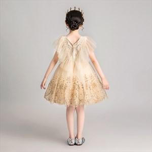 Gold Lace Applique Embellished V-Neck Sleeveless Flower Girl Dress