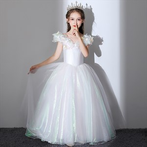 Off The Shoulder Organza Flower Girl Dress With Butterfly