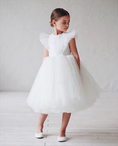 Princess Jewel Tulle Wedding Flower Girl Dress With Sleeves