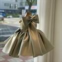 Sleeveless Satin Flower Girl Dress With Back Bow