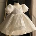 White Sequin V-Neck Flower Girl Dress With Bubble Sleeves