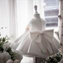 Beaded Embellished Sleeveless Satin Flower Girl Dress With Bows