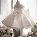 Beaded Embellished Sleeveless Satin Flower Girl Dress With Bows