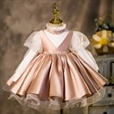 Lace Embellished High Neck Satin Flower Girl Dress With Bubble Sleeves