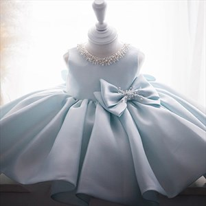 Jewel Beaded Satin Flower Girl Dress High Neck With Bowknot